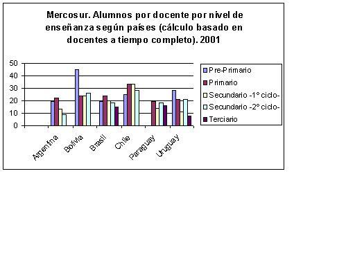 Gráfico. Mercosur. Alumnos por docente por nivel de enseñanza según países.(cálculo basado en docentes a tiempo completo). 2001